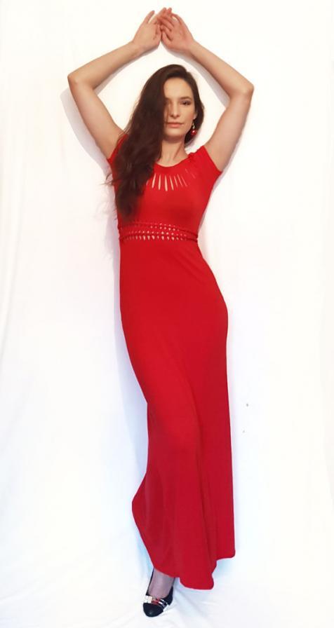 Hosszú piros party ruha
